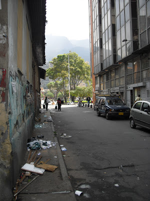 A typically dirty Bogotá street near the tourist hotspot of La Candelaría in the old centre