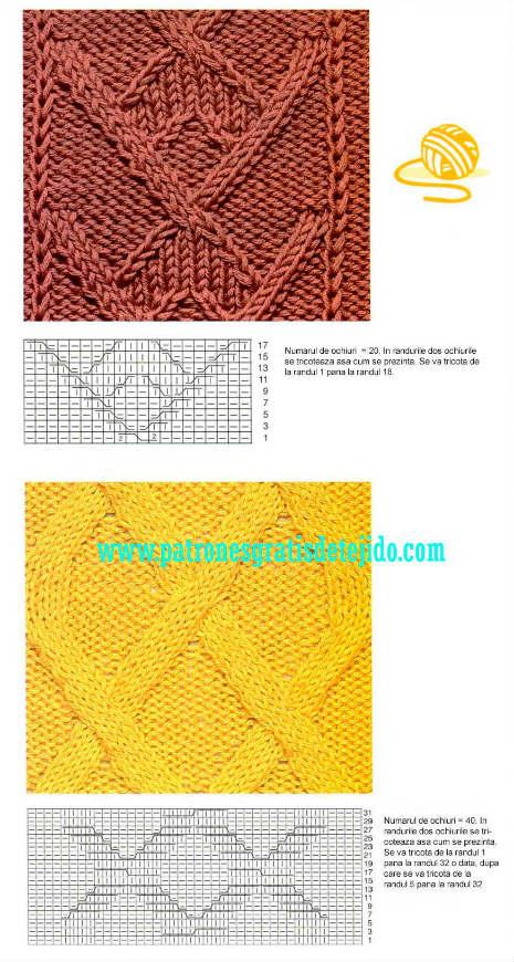 esquemas de tejido con dos agujas