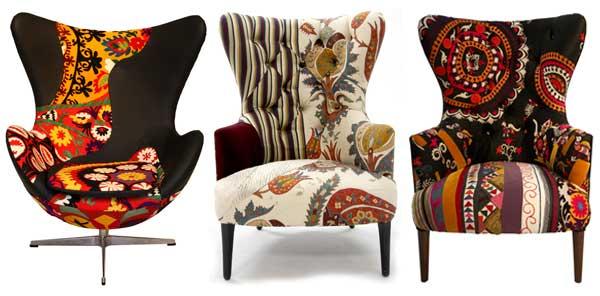 Marzua sillones tapizados con estampados nicos - Muebles tapizados modernos ...