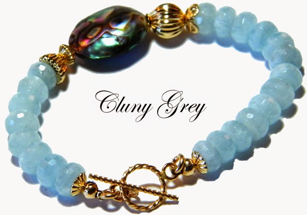 aquamarine bracelet with gold and abalone