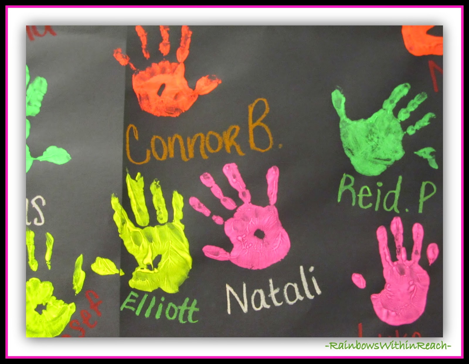 Painted Hand Prints for Class Decoration at RainbowsWithinReach