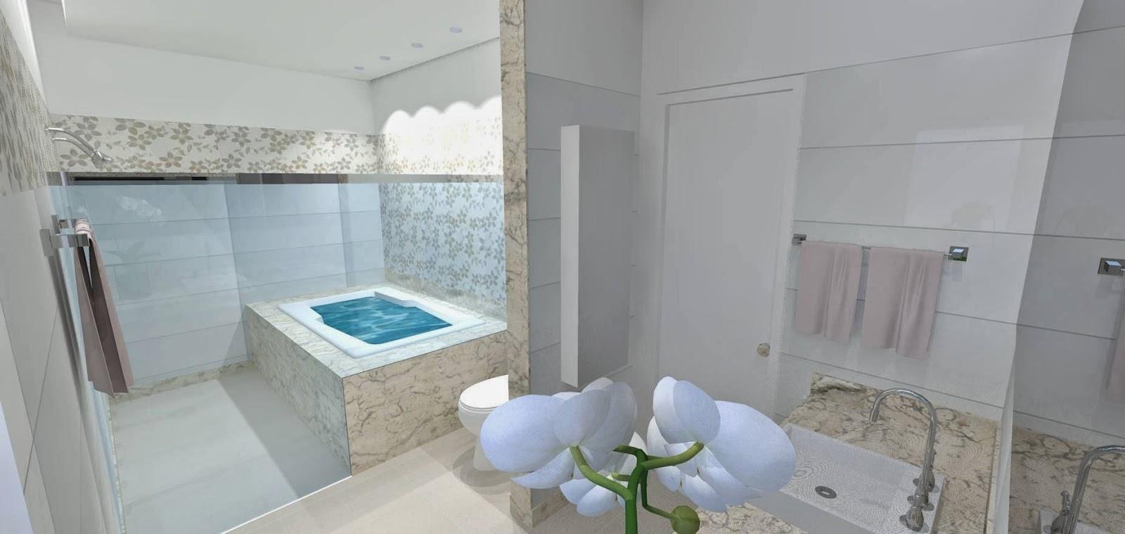 Capricho e Beleza Nossa Construção e Projeto em 3D de banheiro suíte com ban -> Projetos De Banheiro Com Banheira E Closet