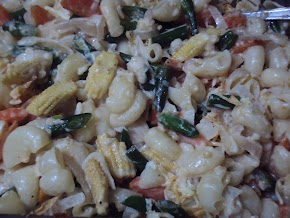 macaroni , cheese and veggies... pasta made healthy.........