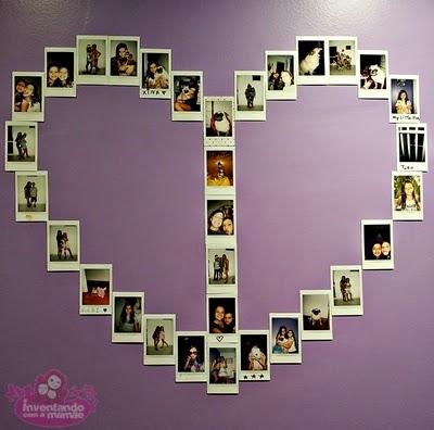 painel de fotos em formato de coração