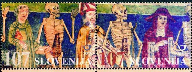 Slovenske frimærker fra 2005, med motiver fra dødedansen