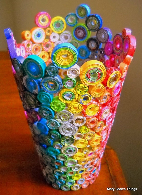 The art of up cycling recycled magazine crafts ideas to for Crafts from recycled stuff
