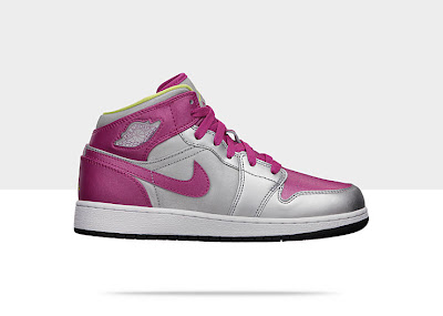 Air Jordan 1 Mid (3.5y-7y) Girls' Shoe Metallic Silver/Fusion Pink-Electric Yellow, Style - Color # 555112-037
