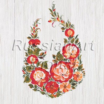 Digital print and Clip art The Flowers Roses in Russian style