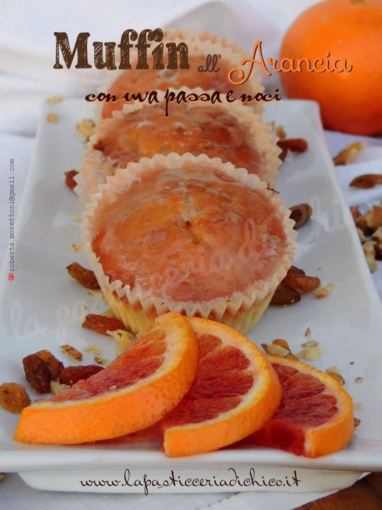 muffin all'arancia con uva passa e noci
