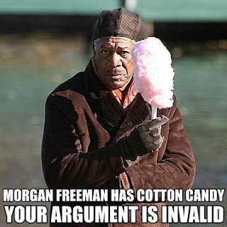morgan freeman with cotton candy argument invalid