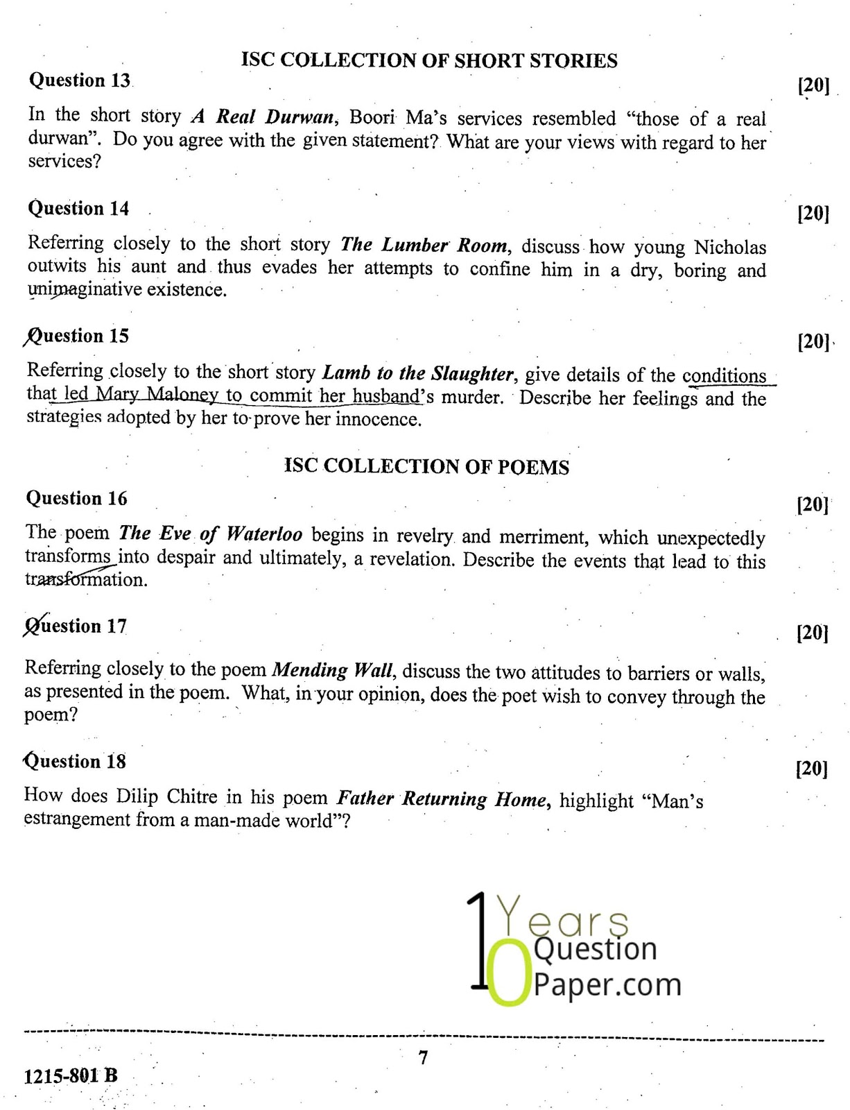 short paper english lit A pack of sample papers for aqa language paper 2, with accompanying mark  schemes could be used as practice papers or you could take.