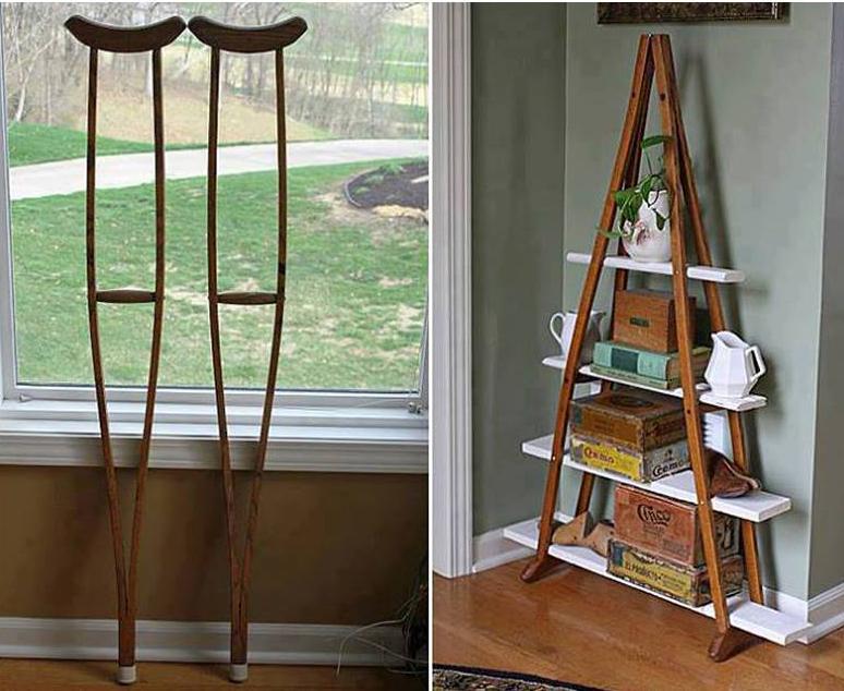 Mueble de madera hecho con muletas construccion y - Hazlo tu mismo muebles ...