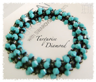 Turquoise Diamond Swarovski Crochet Bangle