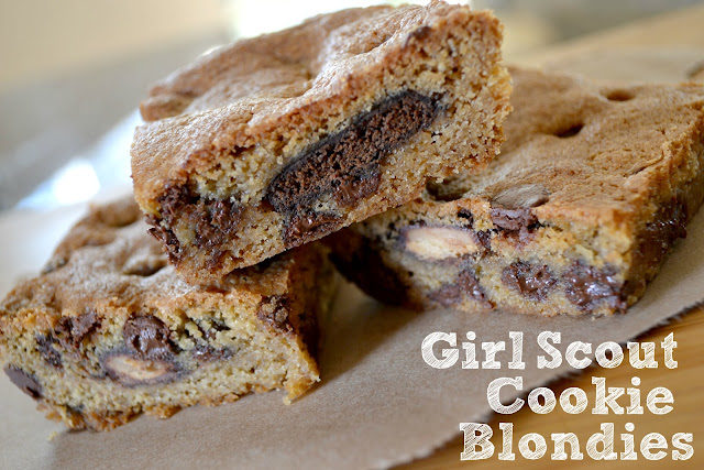 Mommy Testers Girl Scout Cookie Blondies, Thin Mint Blondies, Tagalong Blondies, Girl Scout cookie recipes, Girl Scout cookie Blondie recipe,