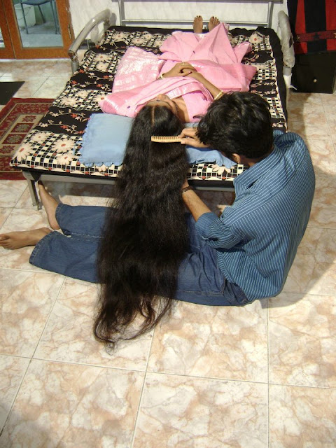 long hair combing by man