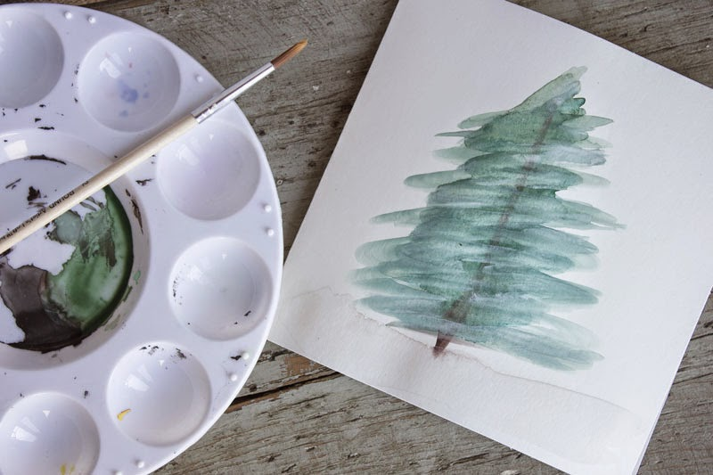 easy watercolour holiday card