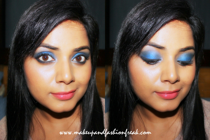 Festive Blue Smokey Eyes with NUde Lips
