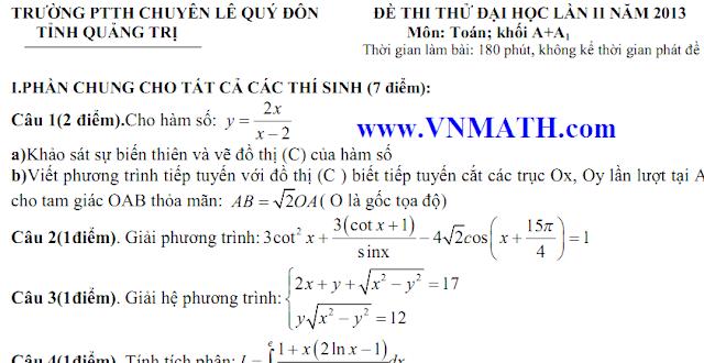 de thi dai hoc khoi A, B, C, D 2013