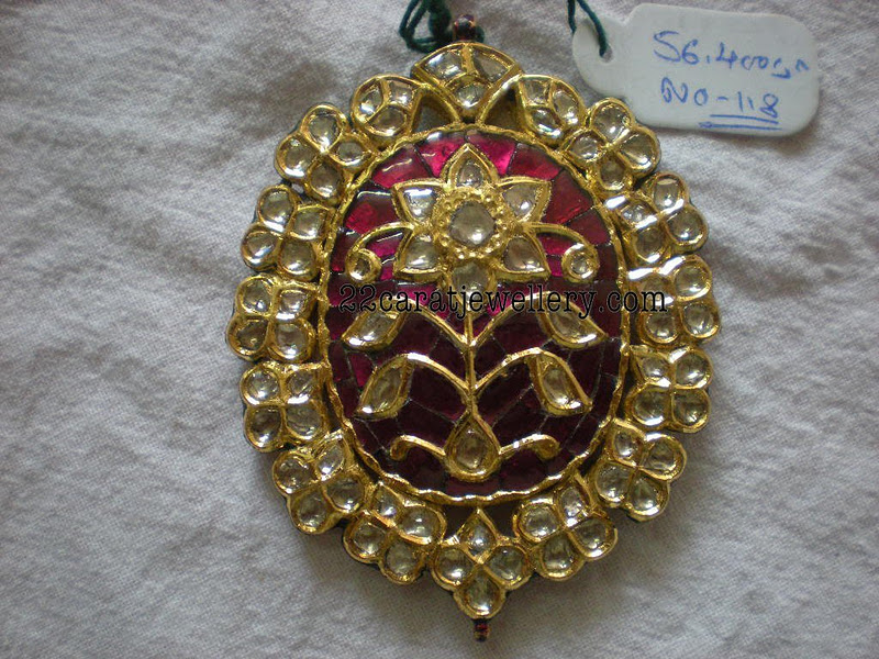 Polki kundan pendants gallery 50 grams jewellery designs checkout 22 carat gold kundan pendant sets studded with polki diamonds and ruby emeralds aloadofball Images