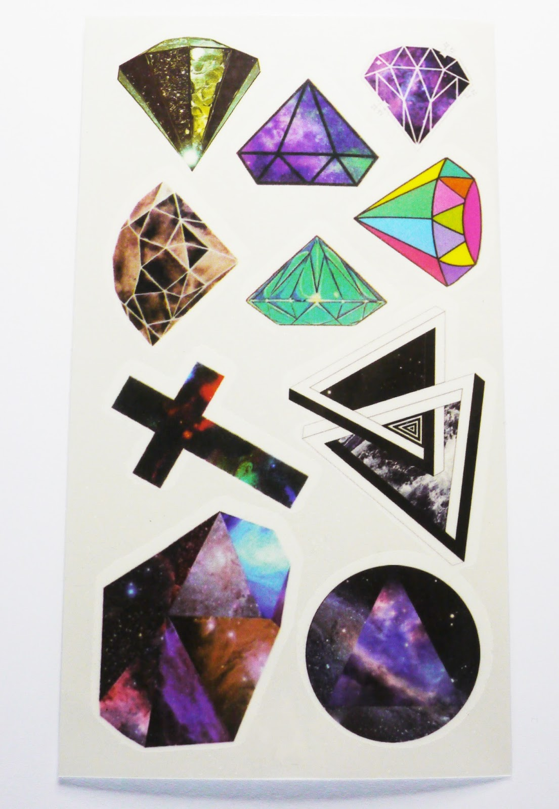 Temporary Tattoo Set #3 - Space & Diamonds