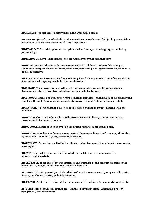 Word List of Synonyms and Antonyms | Welcome To The World Of ...