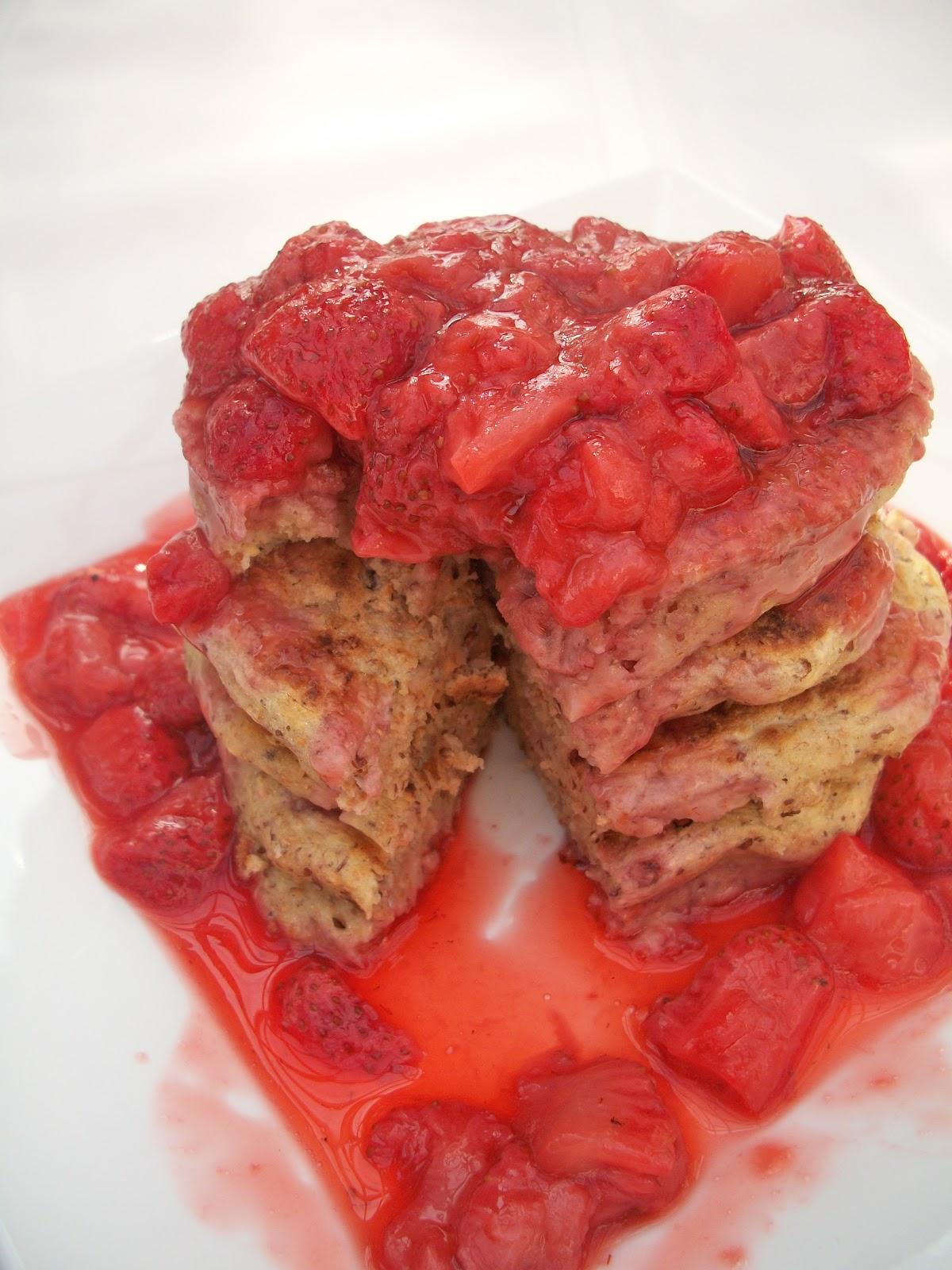 Brooke Bakes : Whole Wheat Vegan Pancakes with Strawberry Sauce