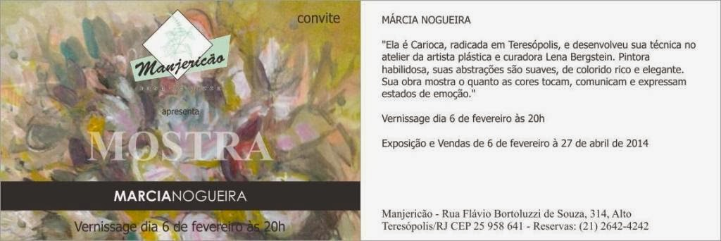 Agenda Cultural Manjericão Casa de Pizza de Teresópolis- Mostra Márcia Nogueira