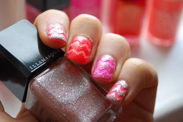 Neon & Glitter Chevron Nail Art