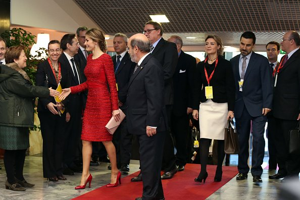 Director of the FAO Jose Da Silva greets Queen Letizia of Spain as she arrives at the FAO headquarter for the second international conference on nutrition
