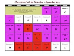 Ordo Kalendar for February 2012