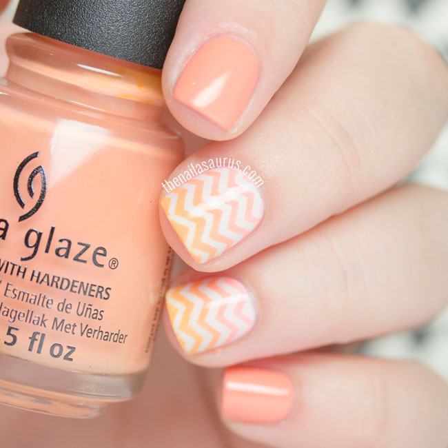 31DC2015: Orange Chevron Nails