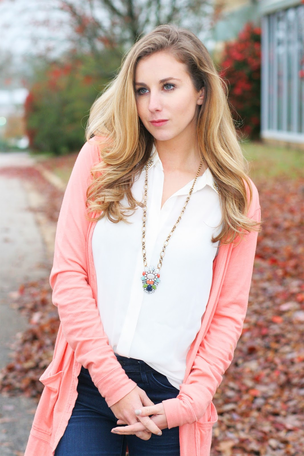 Long-peach-cardigan-with-long-statement-necklace-and-chiffon-top