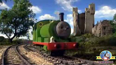 Thomas the blue train spotted steam tank Percy the small engine fare away in the distance help he cried
