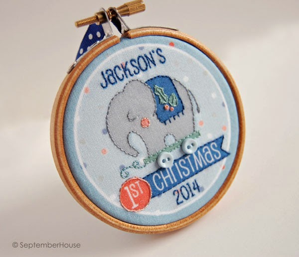 Baby's first Christmas Toy Elephant Holiday 2014 personalized ornament