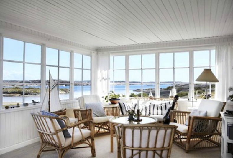 Coastal wicker lounge area with ocean view