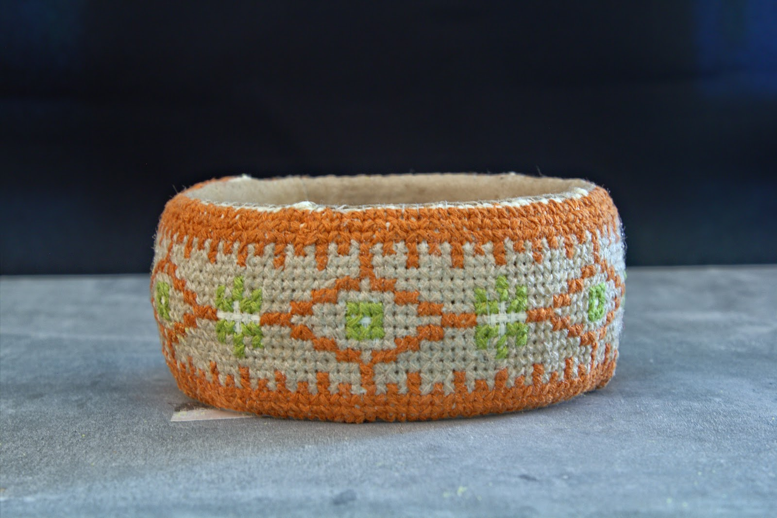 gunadesign guna andersone Lativan ornament bangle in cross stitch technique