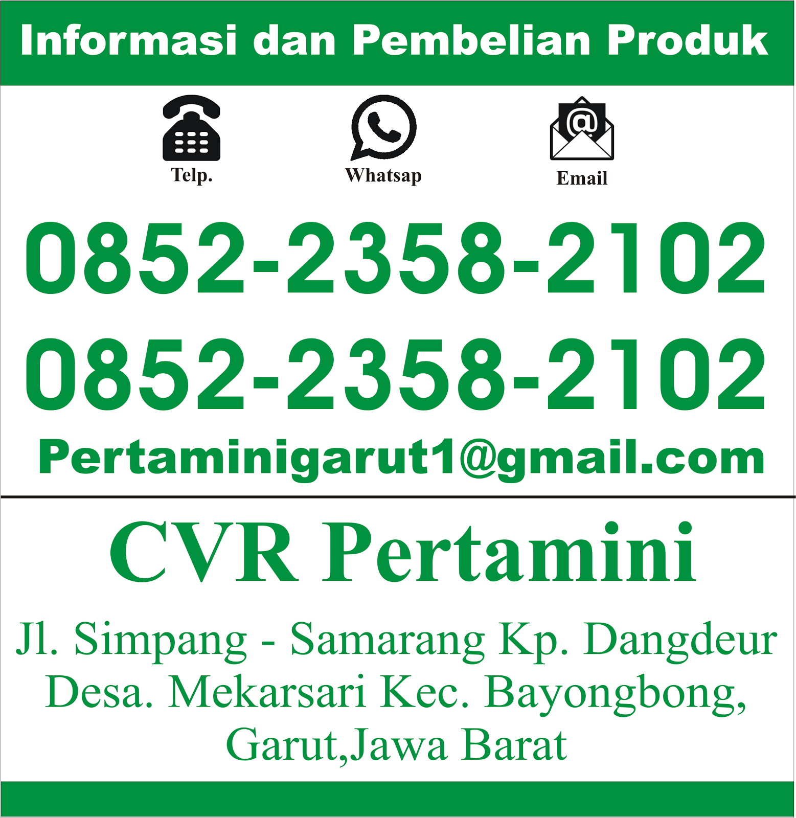 Info Kontak Pemesanan