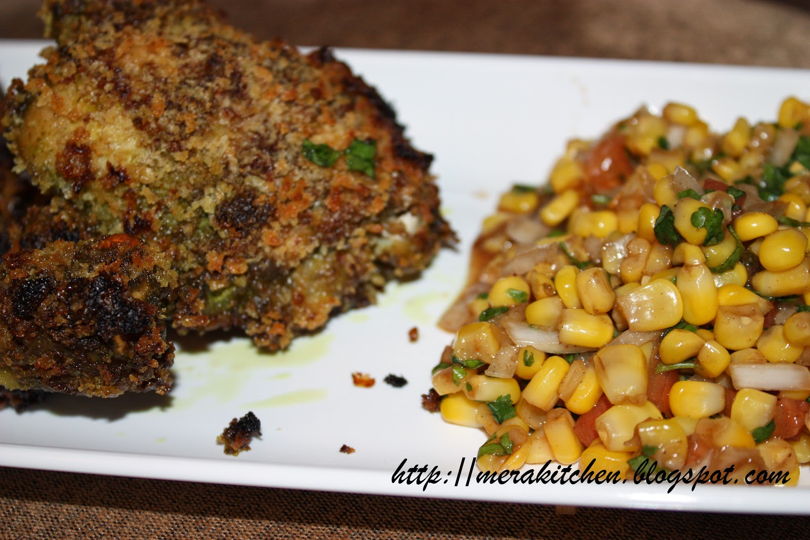 merakitchen: Oven fried herbed chicken with corn salsa/chaat
