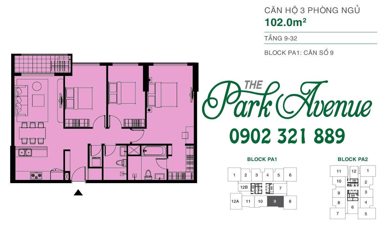 THE PARK AVENUE: Mặt bằng căn hộ 3 PN - 102m²