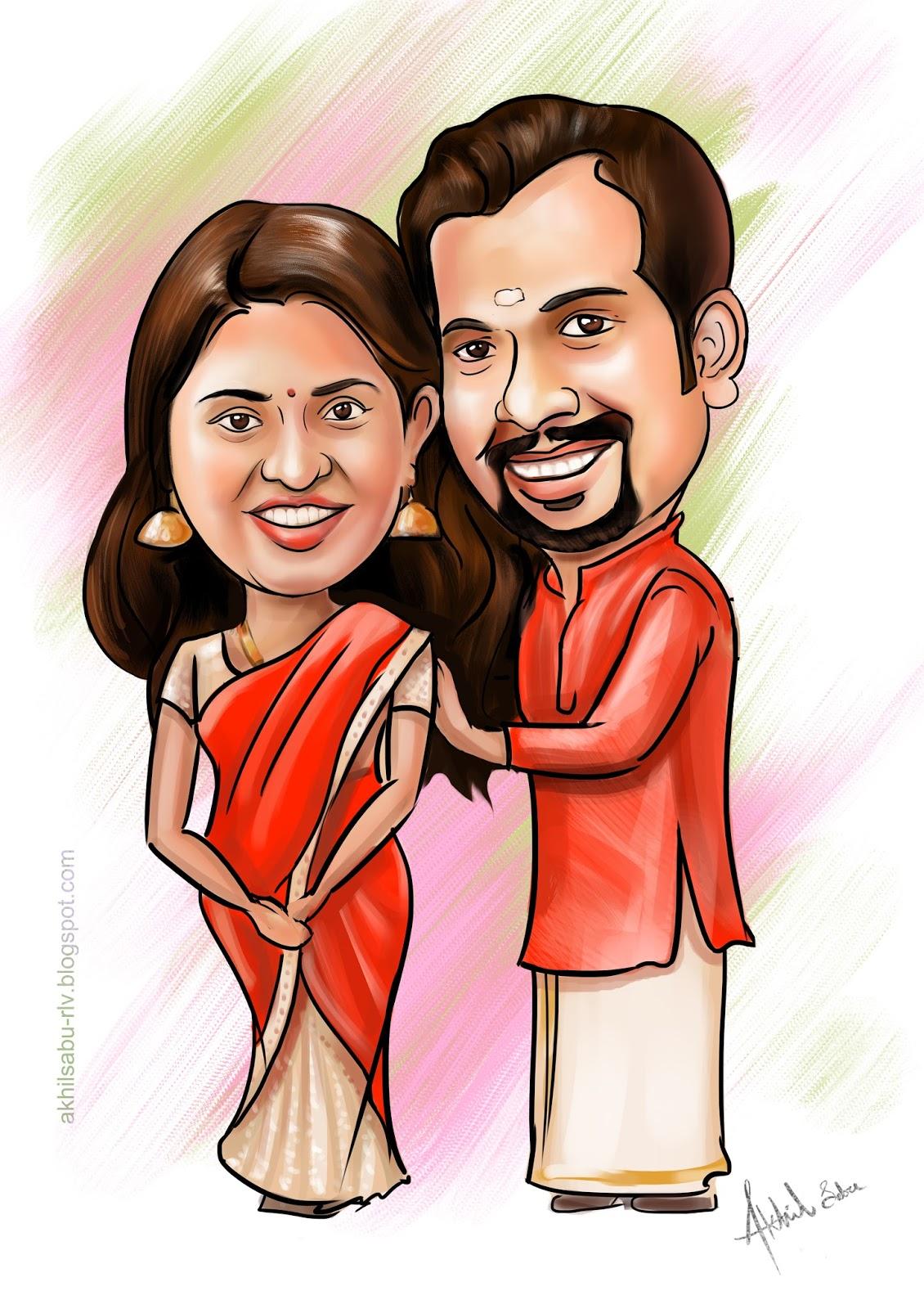 Wedding Caricatures | Akhil Sabu