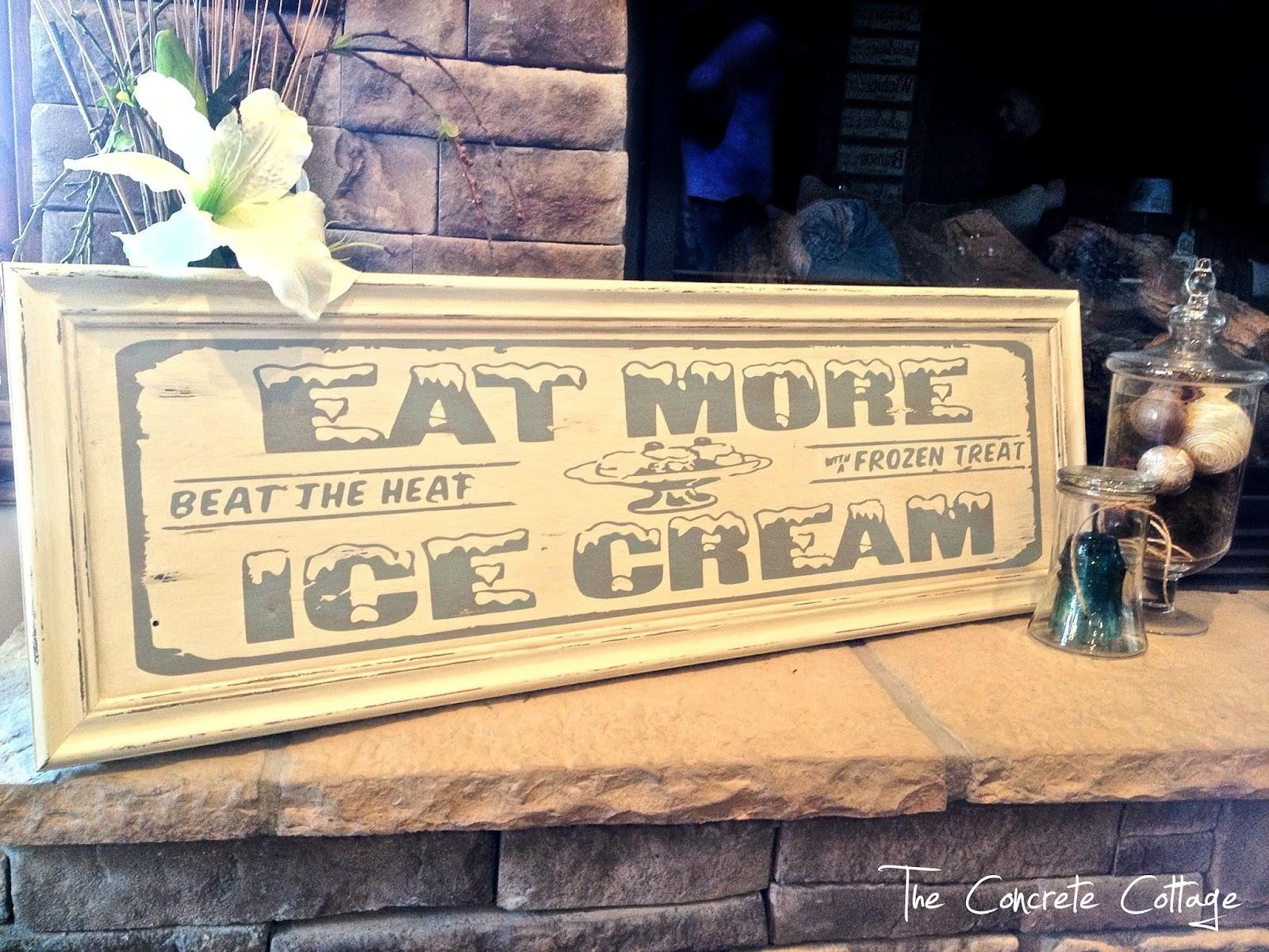 The Concrete Cottage Vintage Soda Shop Ice Cream Sign