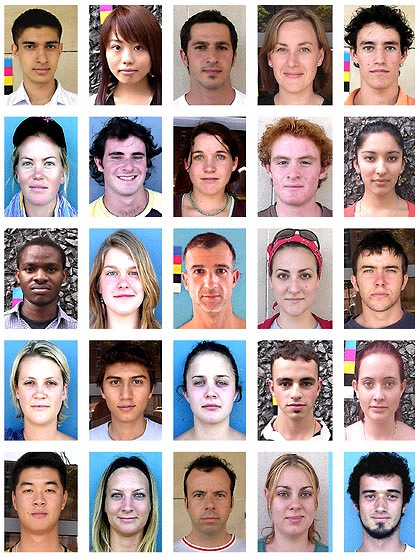 Some of the Sydney faces that made up the final average image.