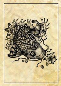 koi tattoos,creature tattoos,sea-creature tattoos,ocean tattoos,fish tattoos,skull tattoos,water tattoos,waves tattoos