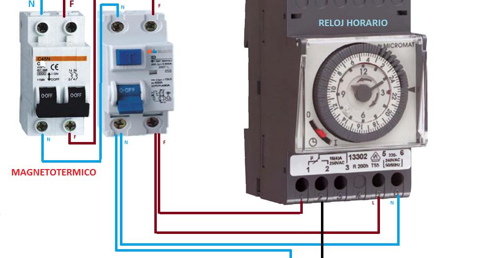 Como conectar reloj horario esquemas el ctricos for Reloj piscina