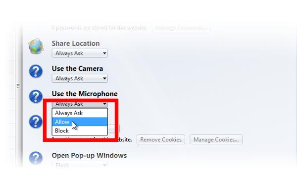 Firefox Hello no puede acceder a mi micrófono o cámara