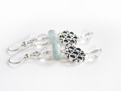 Sterling Silver snowflake earrings with Kyanite