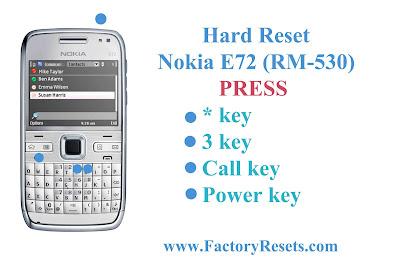 Hard Reset Nokia E72 (RM-530)