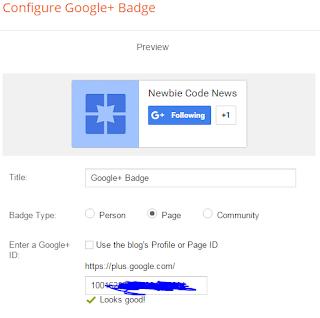 Memasang google+ badge pada blogger