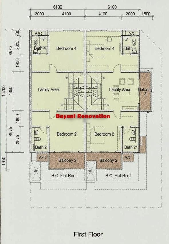 Berikut merupakan sample plan rumah teres 3Lantai yang boleh anda