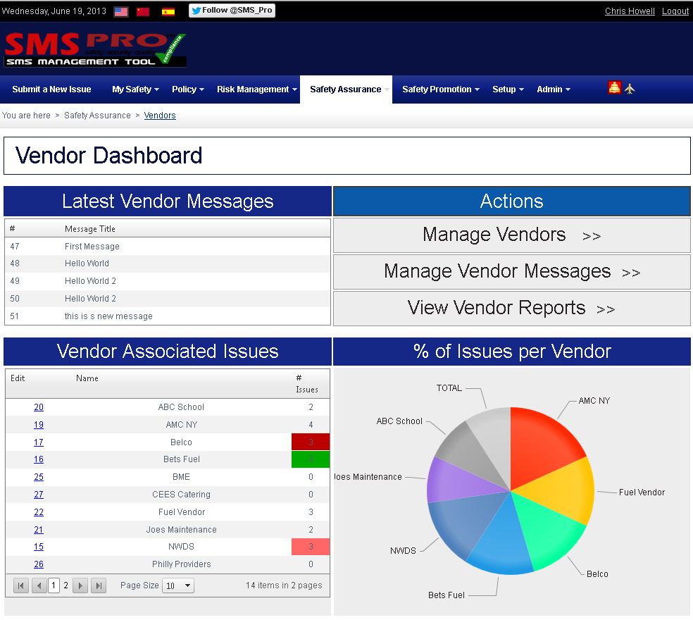 Aviation safety management systems sms june 2013 for Safety dashboard template